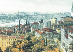 1000 Parça Yap boz Panaromik Eski İstanbul 34x96 Puzzle Keskin Color Puzz