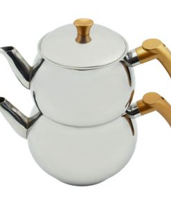 Çelik Çaydanlık Takımı İndüksiyon Uyumlu Mini Demlik Gold