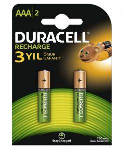 Duracell Şarj Edilebilir AAA Şarjlı ince Kalem Pil 750 Mah 2'Li Paket hr03 dc2400