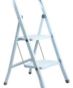 Perilla 2 Basamaklı Katlanır Metal Merdiven Toz Mavi Renkli Boyalı
