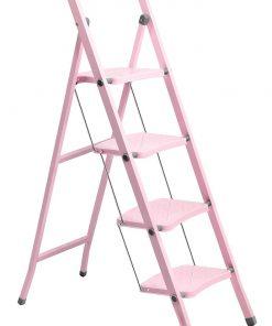 Perilla 4 Basamaklı Katlanır Metal Merdiven Toz Pembe Renkli Boyalı