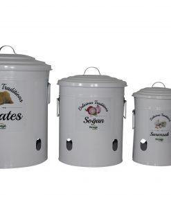 Saklama Kabı Erzak Kutusu Metal Set Patates Soğan Sarımsak Saklama Kabı Beyaz