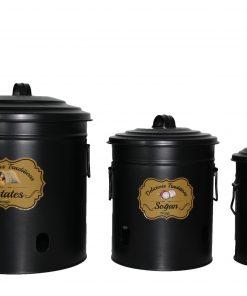 Saklama Kabı Erzak Kutusu Metal Set Patates Soğan Sarımsak Saklama Kabı Siyah
