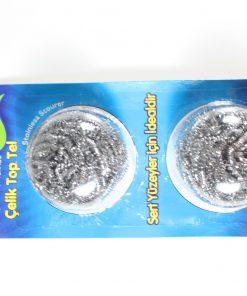 Top Tel Ovalama için Bulaşık Teli Metal Temizlik Süngeri 2li Paket