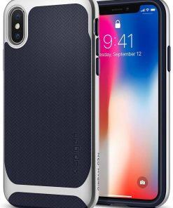 Spigen Telefon Kılıfı Apple iPhone X Kılıf Neo Hybrid Satin Silver