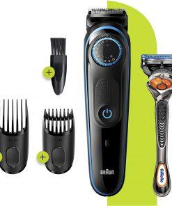 Braun Tıraş Makinesi BT 5240 Saç Sakal Şekillendirici AutoSense Teknoloji Siyah Mavi + Gillette Hediye