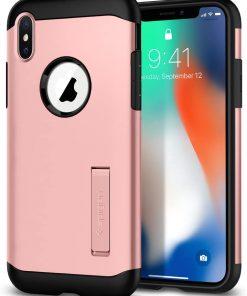 Spigen Apple iPhone XS / iPhone X Kılıf Slim Armor Rose Gold