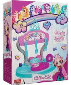 Prenses Ve Unicorn Masaüstü Mutfak Seti 15 Parça 40 cm